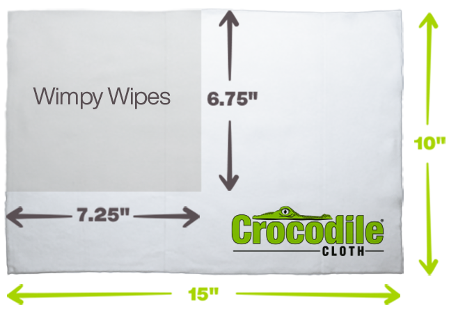 Crocodile Cloths are 15 x 10 inch size